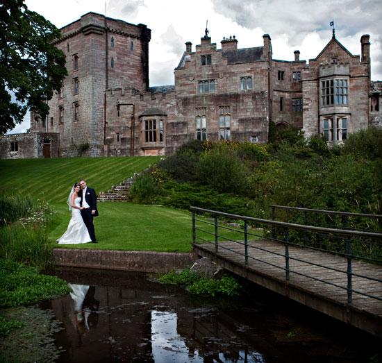 Bride and Groom at Greystoke Castle in Cumbria