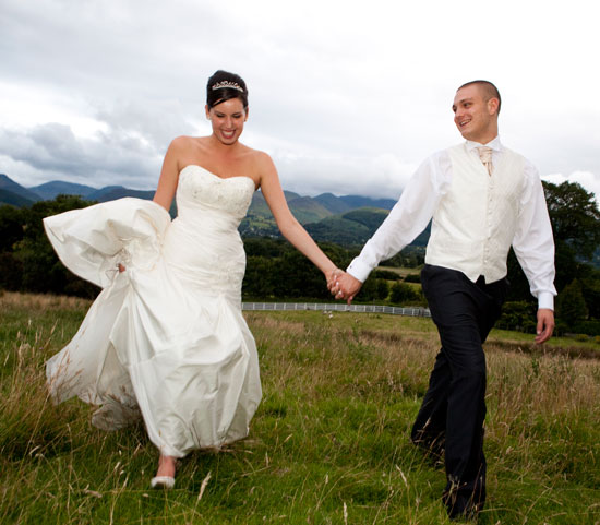 Bride and groom in the Lakes