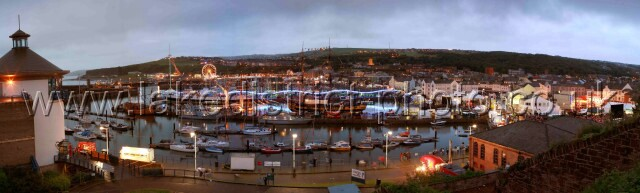 Whitehaven Harbour at night during the 2007 festival.