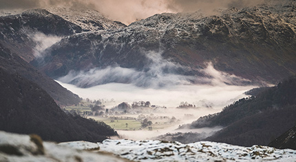 The Borrowdale Valley Floor during winter