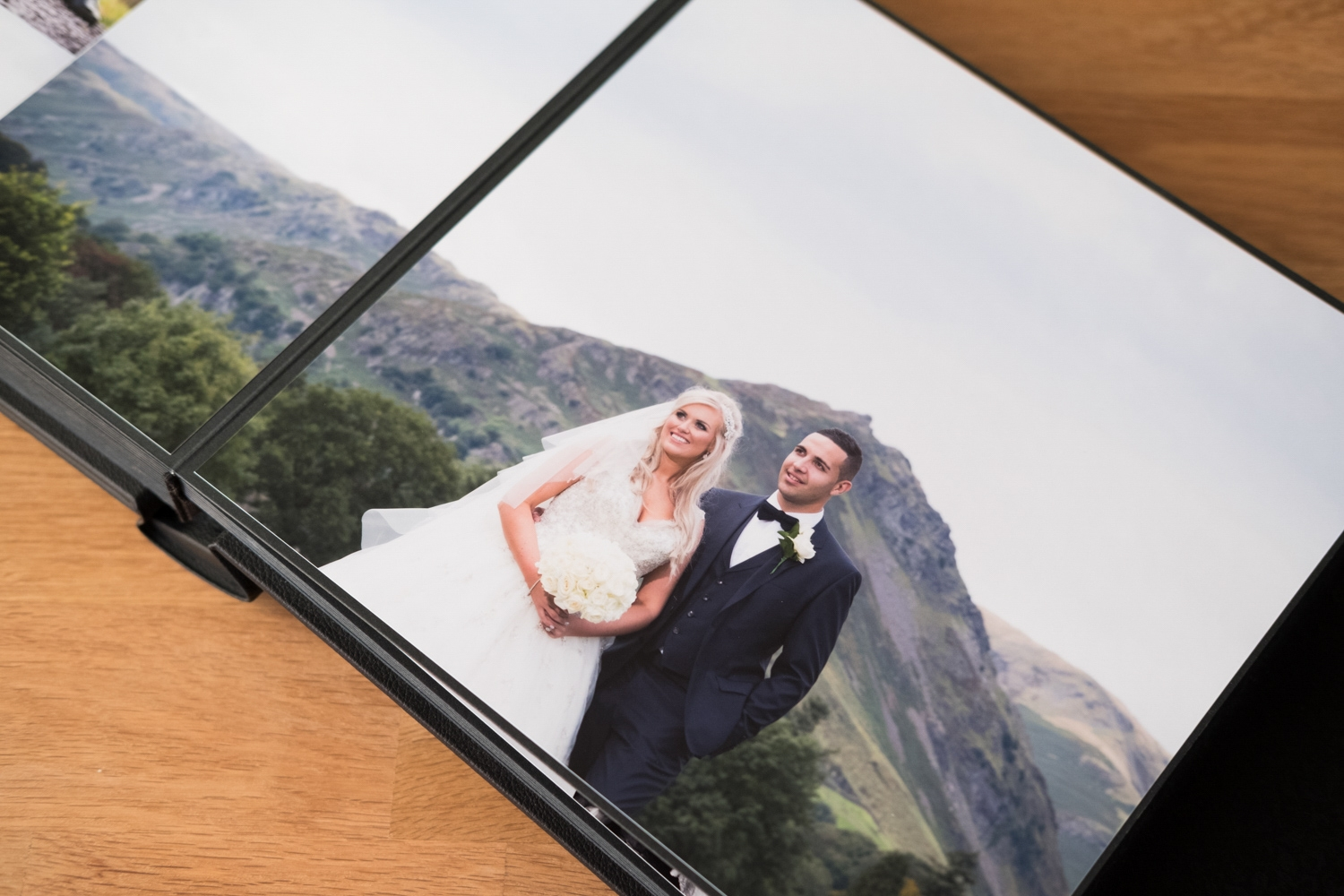 Grasmere wedding album with Helm Crag pictured behind