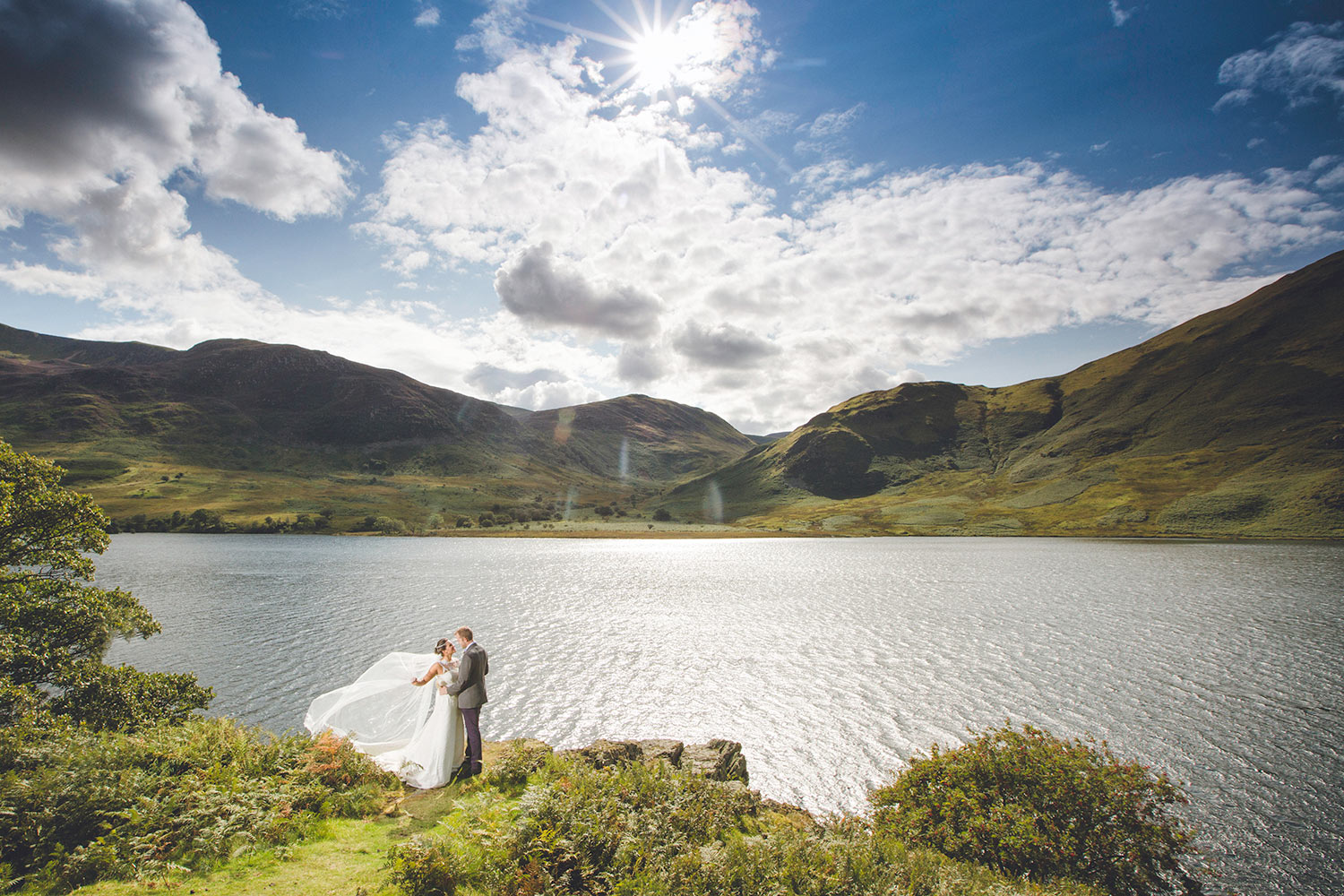 Bride and Groom in the Lake District Sunshine
