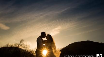 Inn on The Lake Sunset Wedding Photo