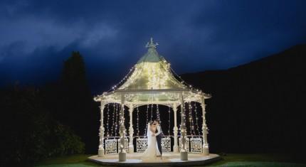 Fairy Lights on the wedding gazebo