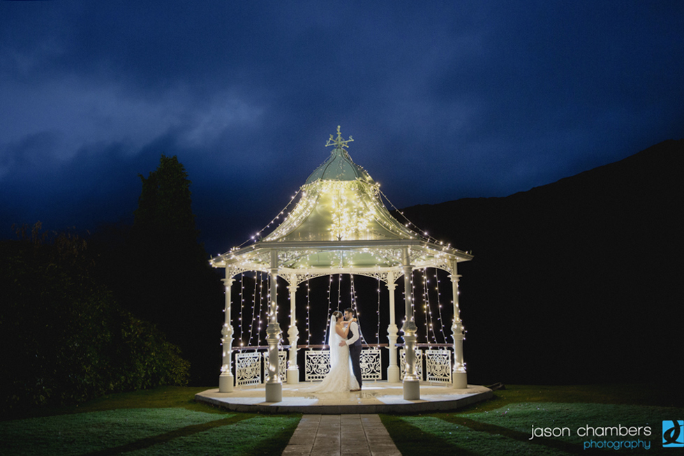 Fairy Lights on the wedding gazebo