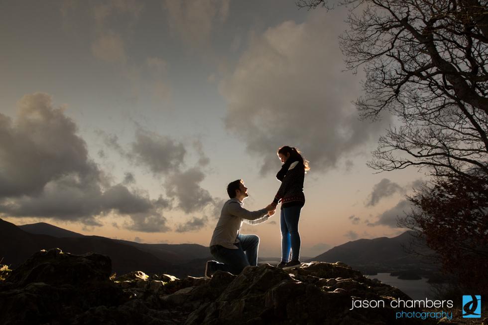 Proposal wedding photographs during sunset